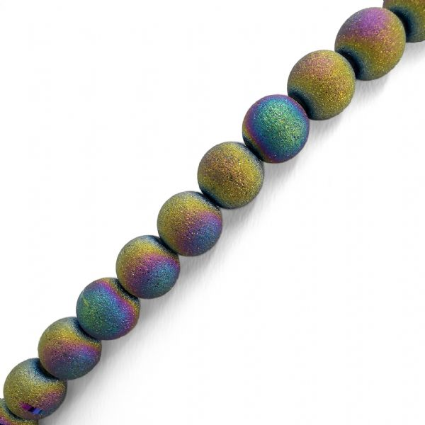 Blue, Yellow, Purple Frosted Glass Round Beads